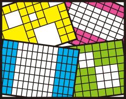 長方形・正方形・縦横混在・大小混在とさまざま