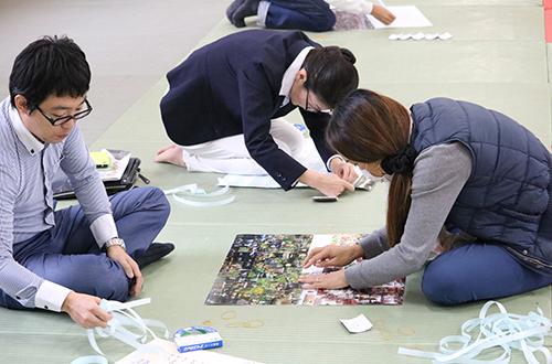 沼田城フォトモザイクアート写真貼り付け風景
